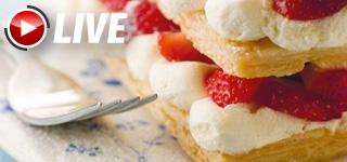 Mille-feuille crêpes dentelle crème vanille-fraises | Valérie Malard